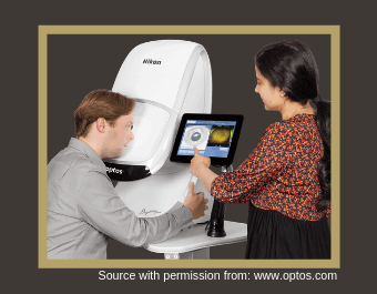 Picture of a patient having an eye examination using the Optos Daytona Plus machine